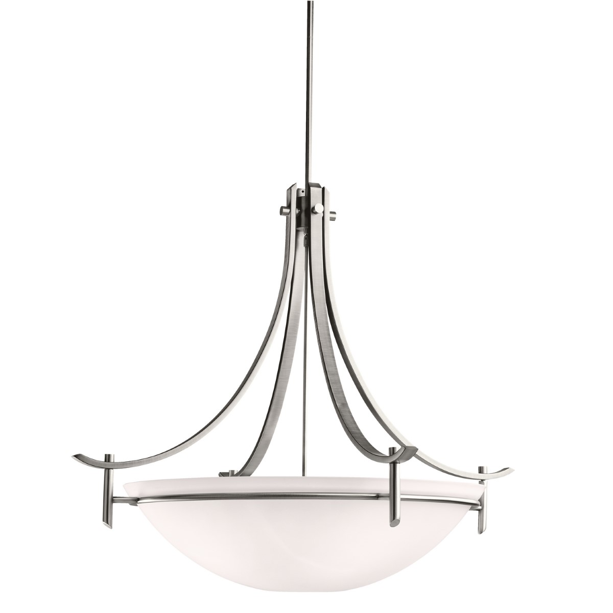 Kichler Olympia Olympia Pendant Light with Satin Etched White Steel Shade - Antique Pewter (3279AP)