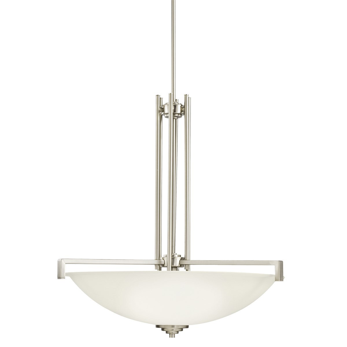 Kichler Eileen Eileen LED Four-Light Pendant Light with Satin Etched White Steel Shade - Brushed Nickel (3299NIL18)