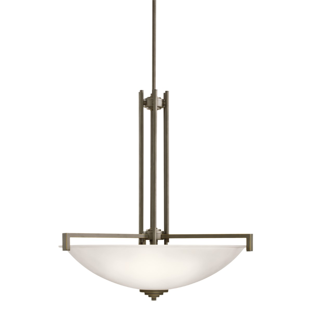 Kichler Eileen Eileen Four-Light Pendant Light with Satin Etched White Steel Shade - Olde Bronze (3299OZS)