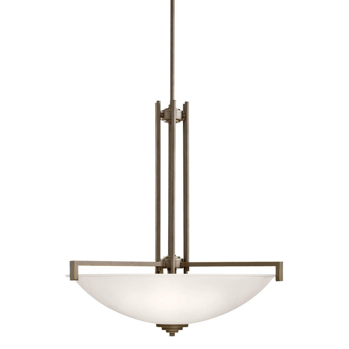 Kichler Eileen Eileen LED Four-Light Pendant Light with Satin Etched White Steel Shade - Olde Bronze (3299OZSL18)