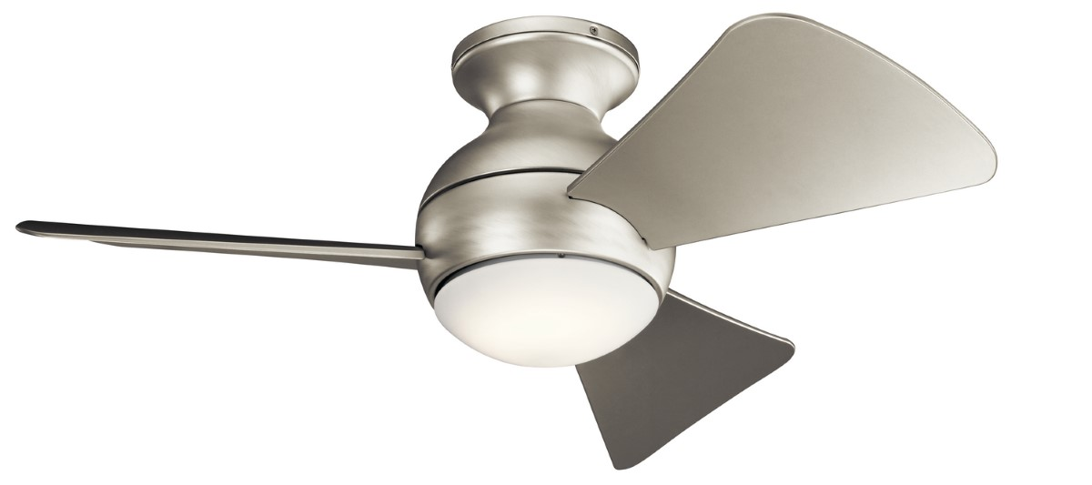 Kichler Sola 34 Outdoor Wet Flush Mount Brushed Nickel Ceiling Fan With Led Light Silver Blades 330150ni