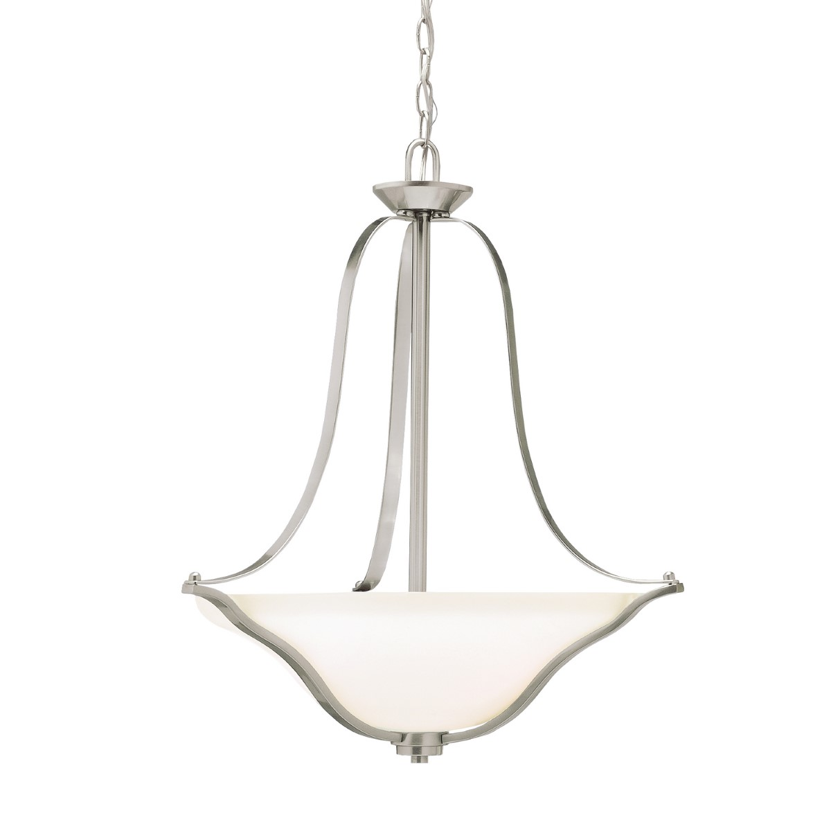 Kichler Langford Langford Pendant Light with Satin Etched White Steel Shade - Brushed Nickel (3384NI)