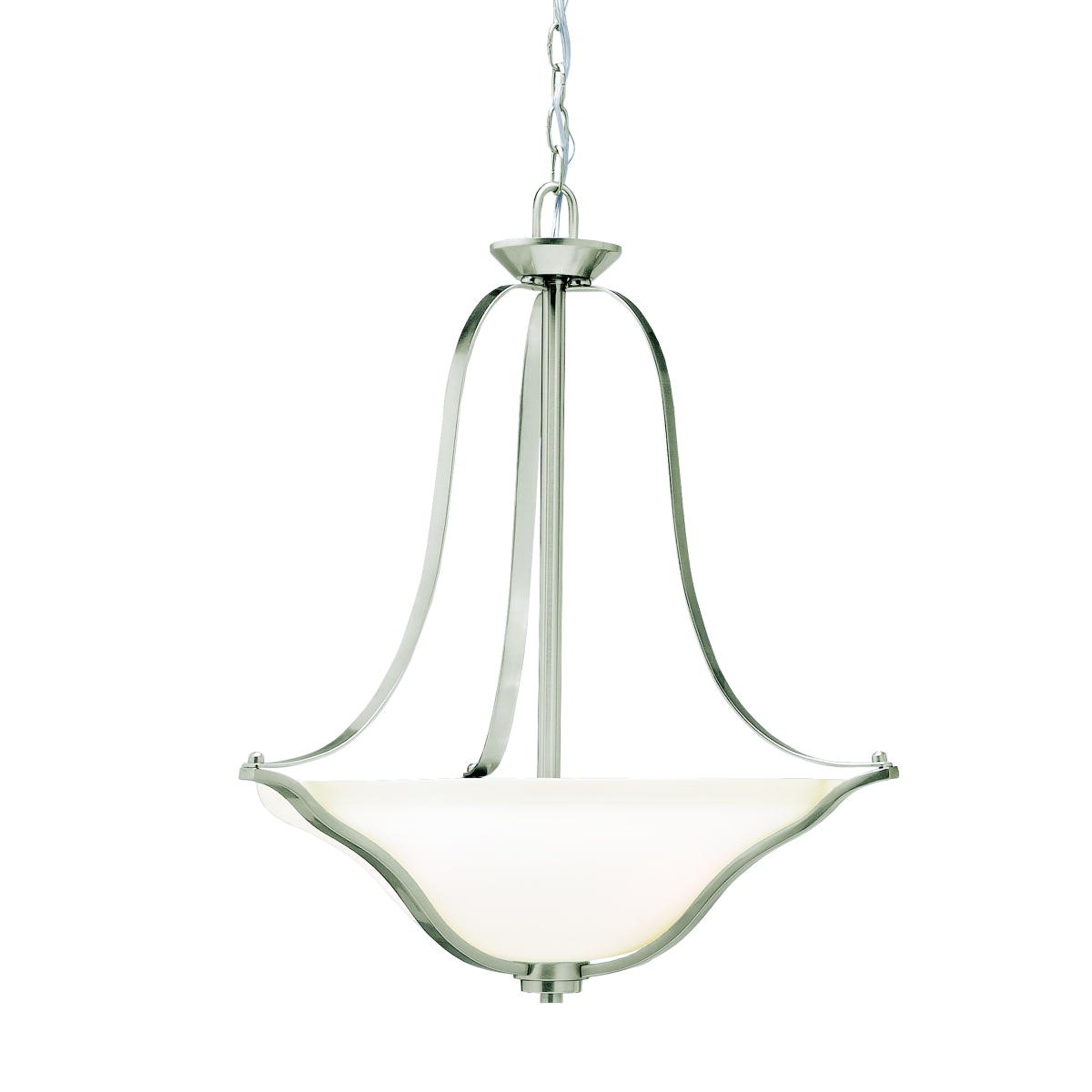 Kichler Langford Langford LED Three-Light Pendant Light with Satin Etched White Steel Shade - Brushed Nickel (3384NIL18)
