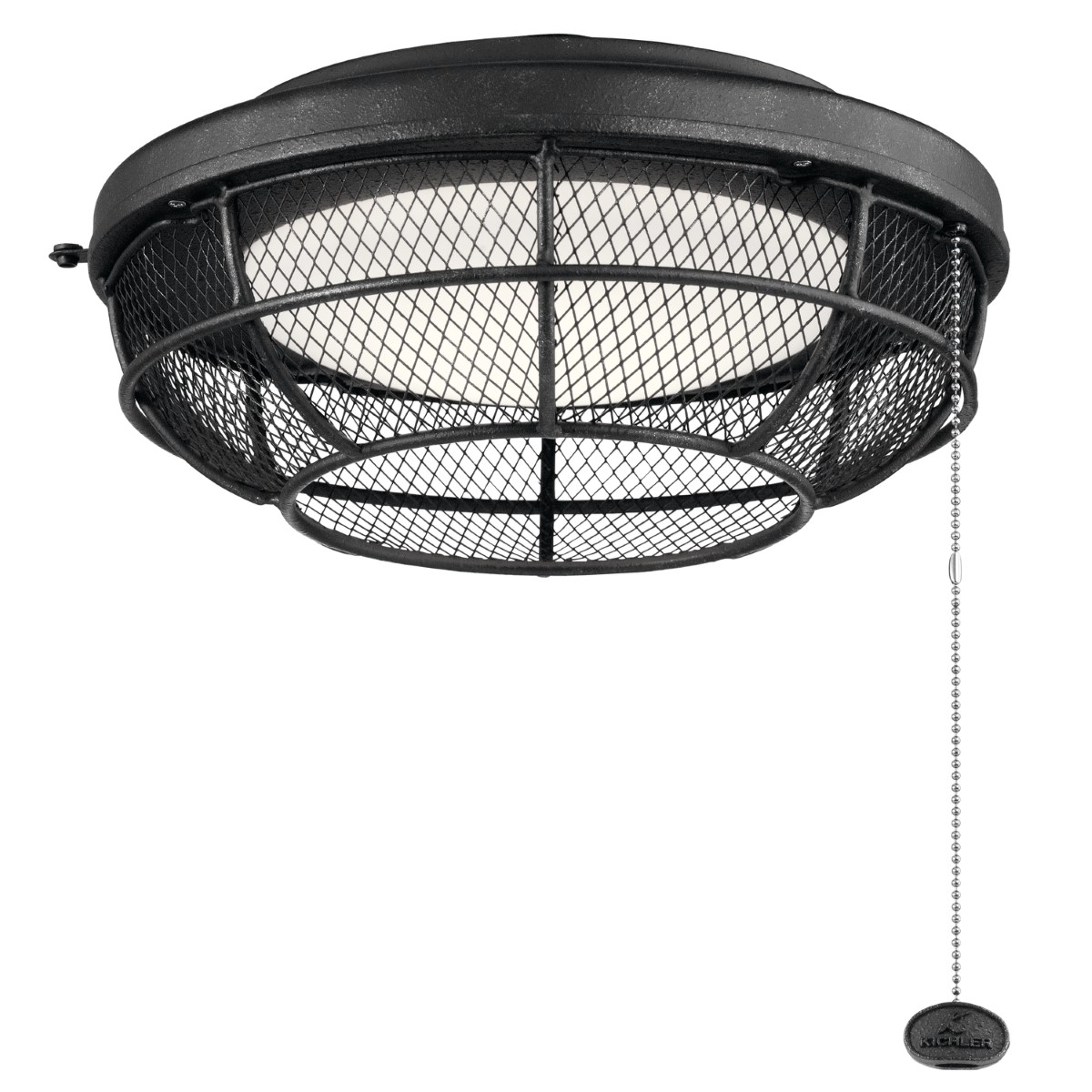 Kichler Outdoor Wet LED Mesh Light Kit with Etched Cased Opal Shade - Distressed Black (380952DBK)