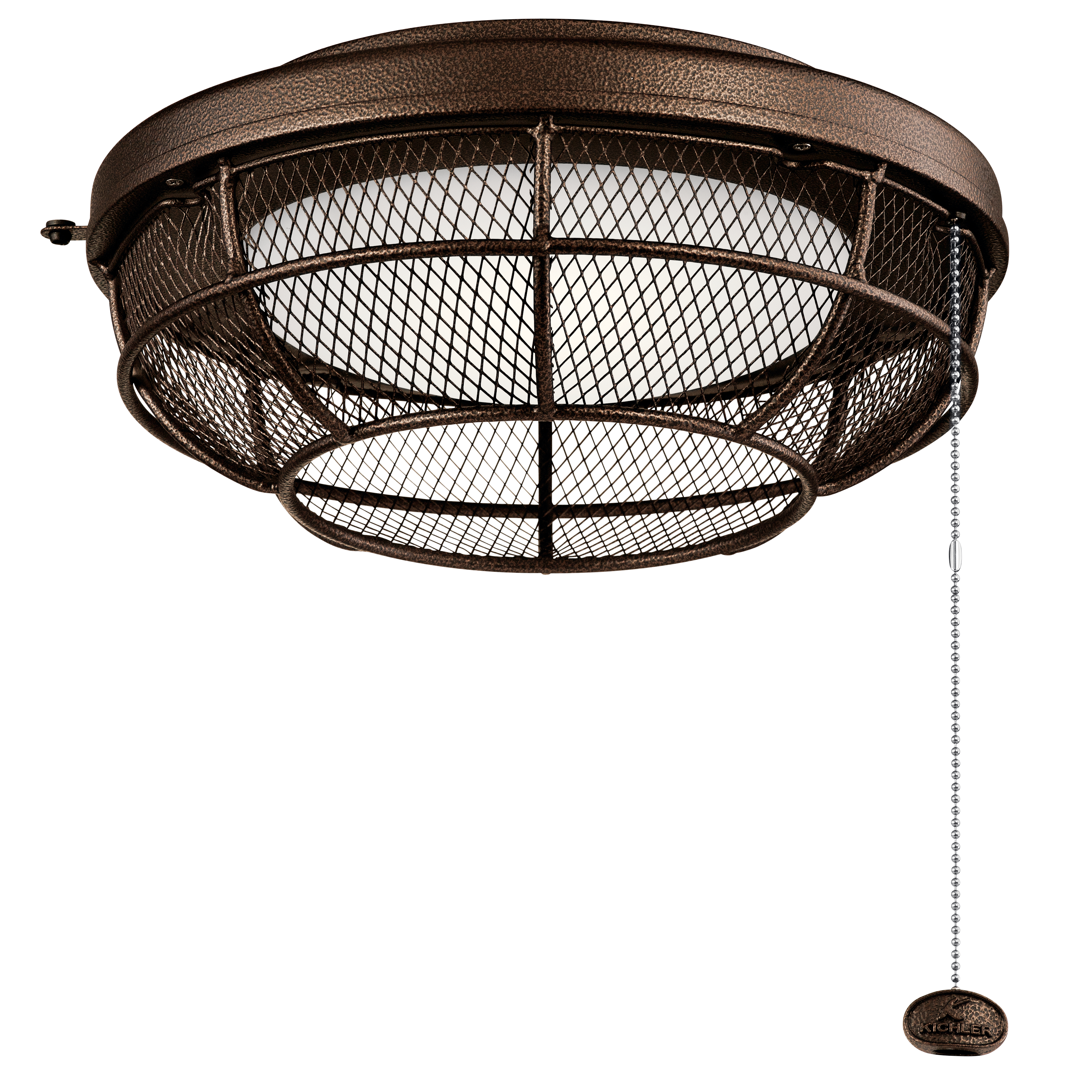 Kichler Outdoor Wet LED Mesh Light Kit with Etched Cased Opal Shade - Weathered Copper Powder Coat (380952WCP)