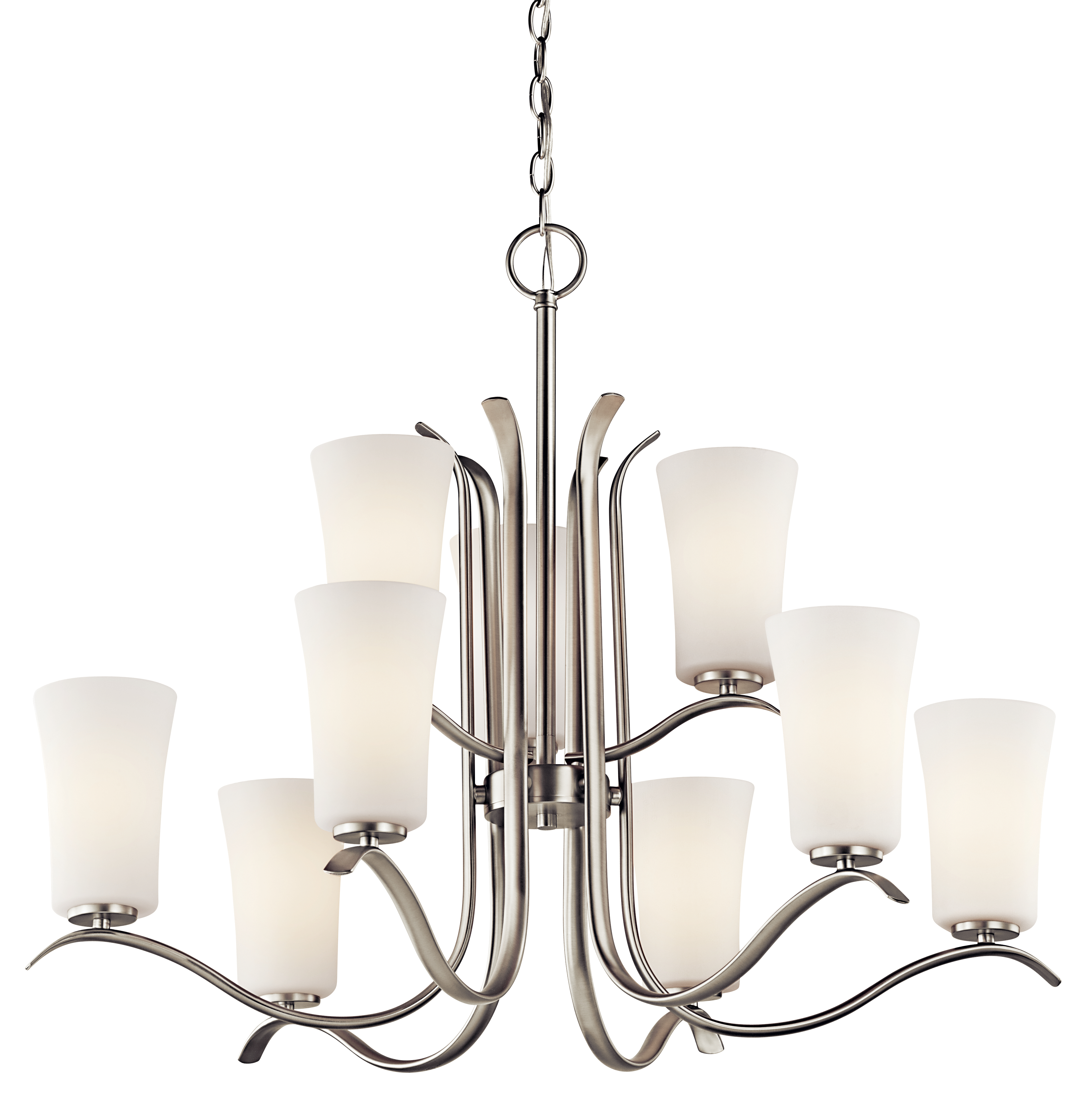 Kichler Armida LED Chandelier with Satin Etched White Shade - Brushed Nickel (43075NIL16)
