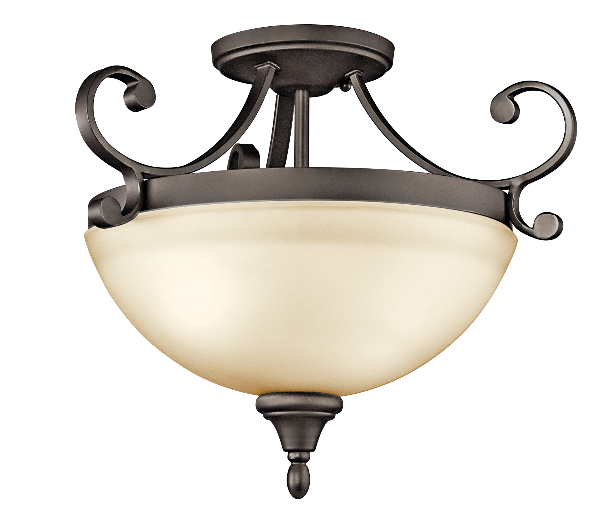 Kichler Monroe LED Flush Light with Light Umber Etched Shade - Olde Bronze (43169OZL16)