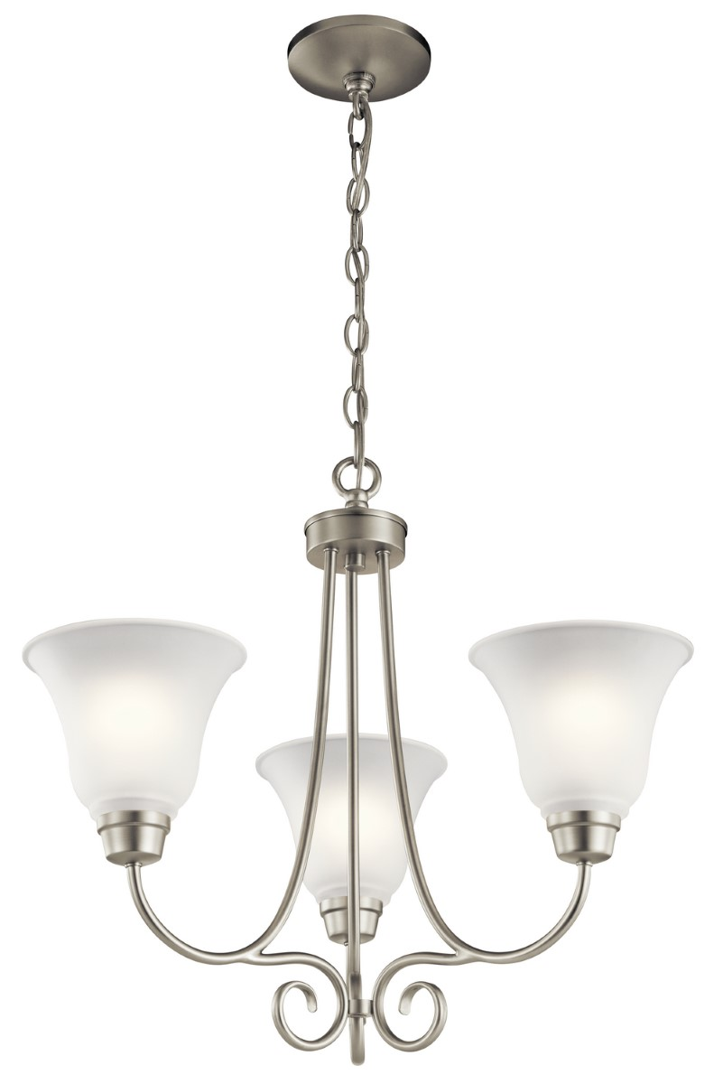 Kichler Bixler Chandelier with Satin Etched Shade - Brushed Nickel (43937NI)