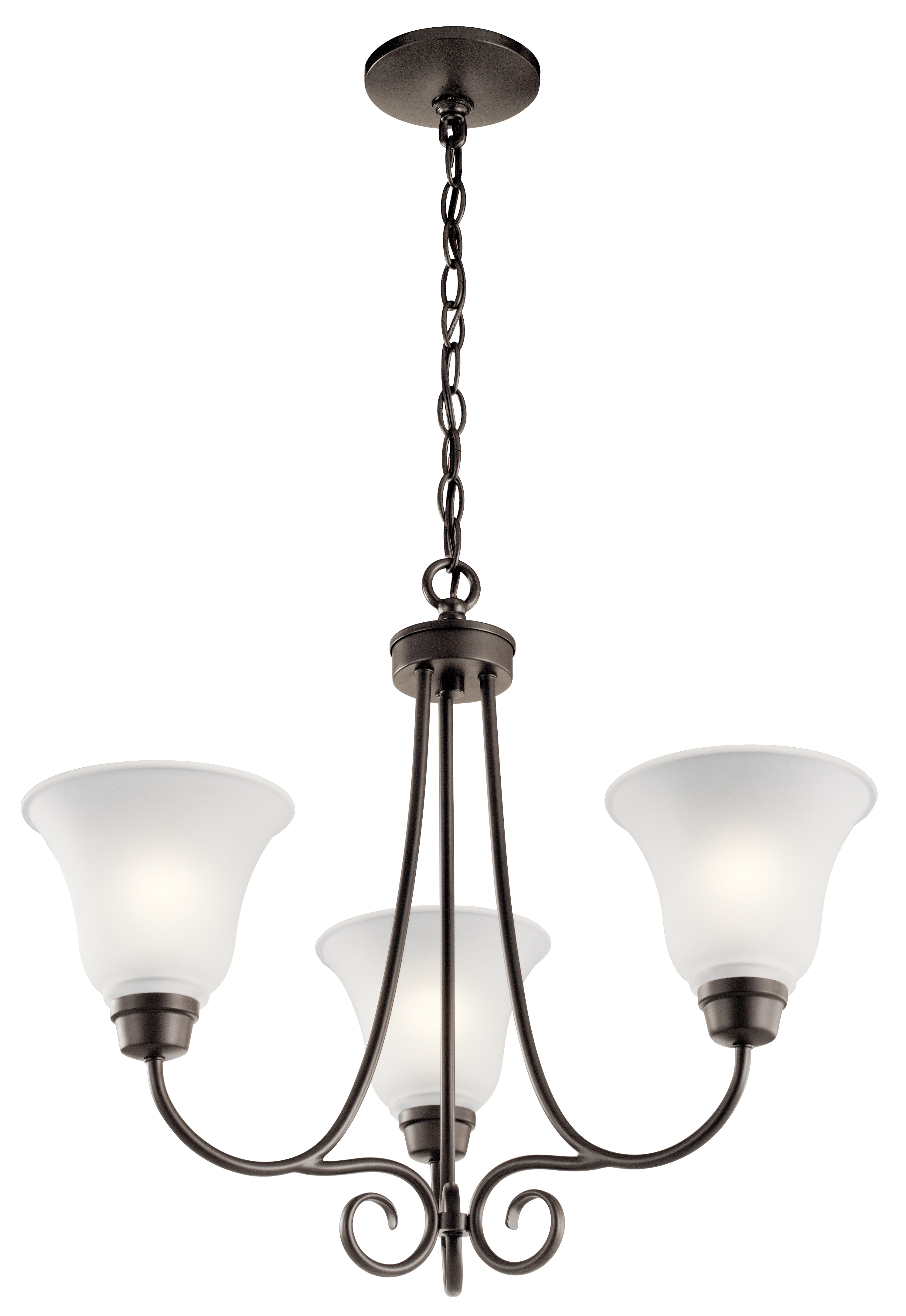 Kichler Bixler Chandelier with Satin Etched Shade - Olde Bronze (43937OZ)