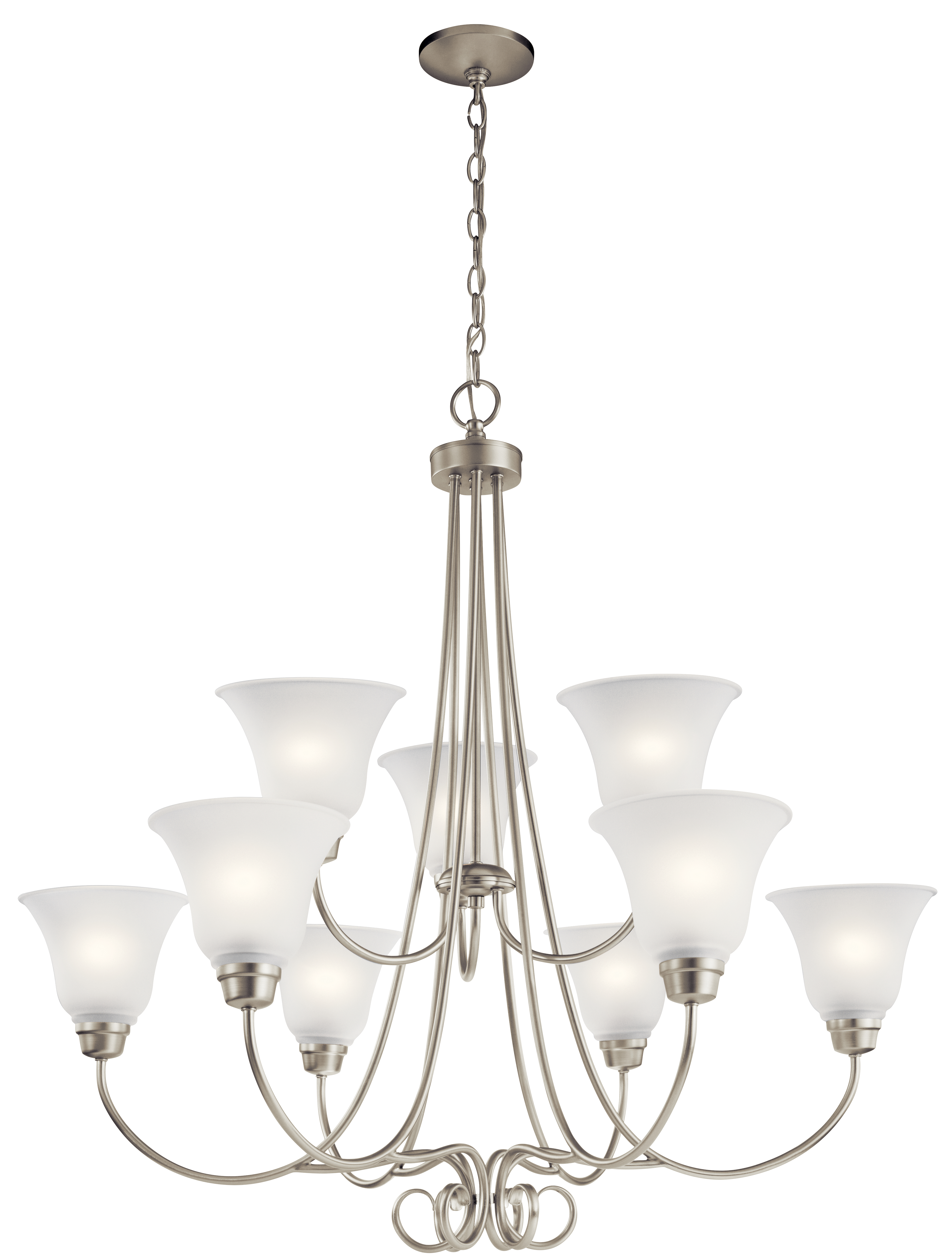 Kichler Bixler LED Chandelier with Satin Etched Shade - Brushed Nickel (43939NIL16)