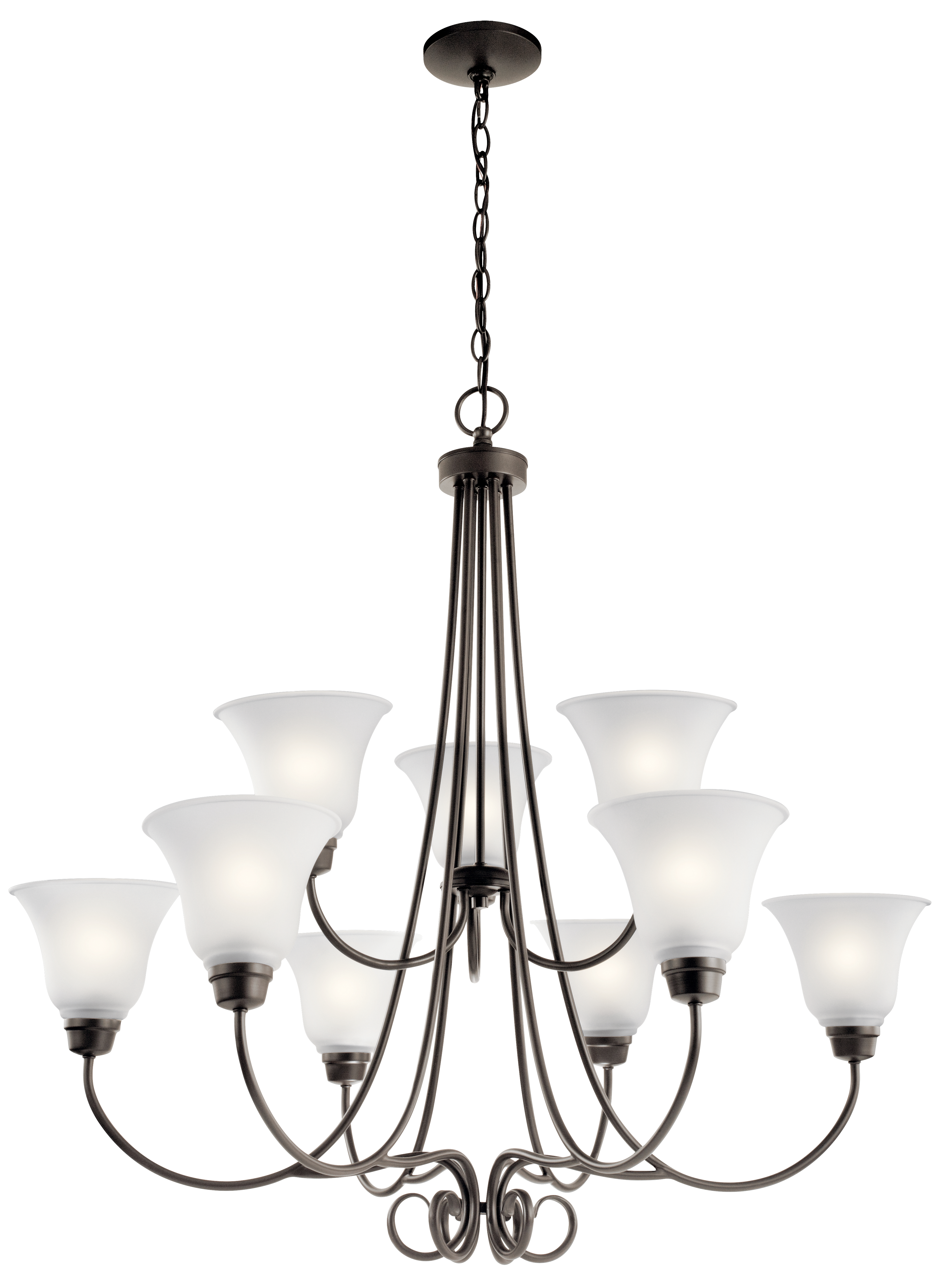 Kichler Bixler LED Chandelier with Satin Etched Shade - Olde Bronze (43939OZL16)