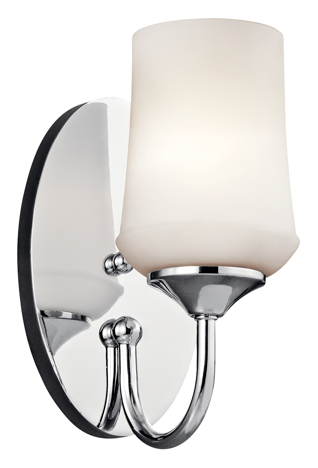 Kichler Aubrey Outdoor Damp Wall Light with Satin Etched Cased Opal Shade - Chrome (45568CH)