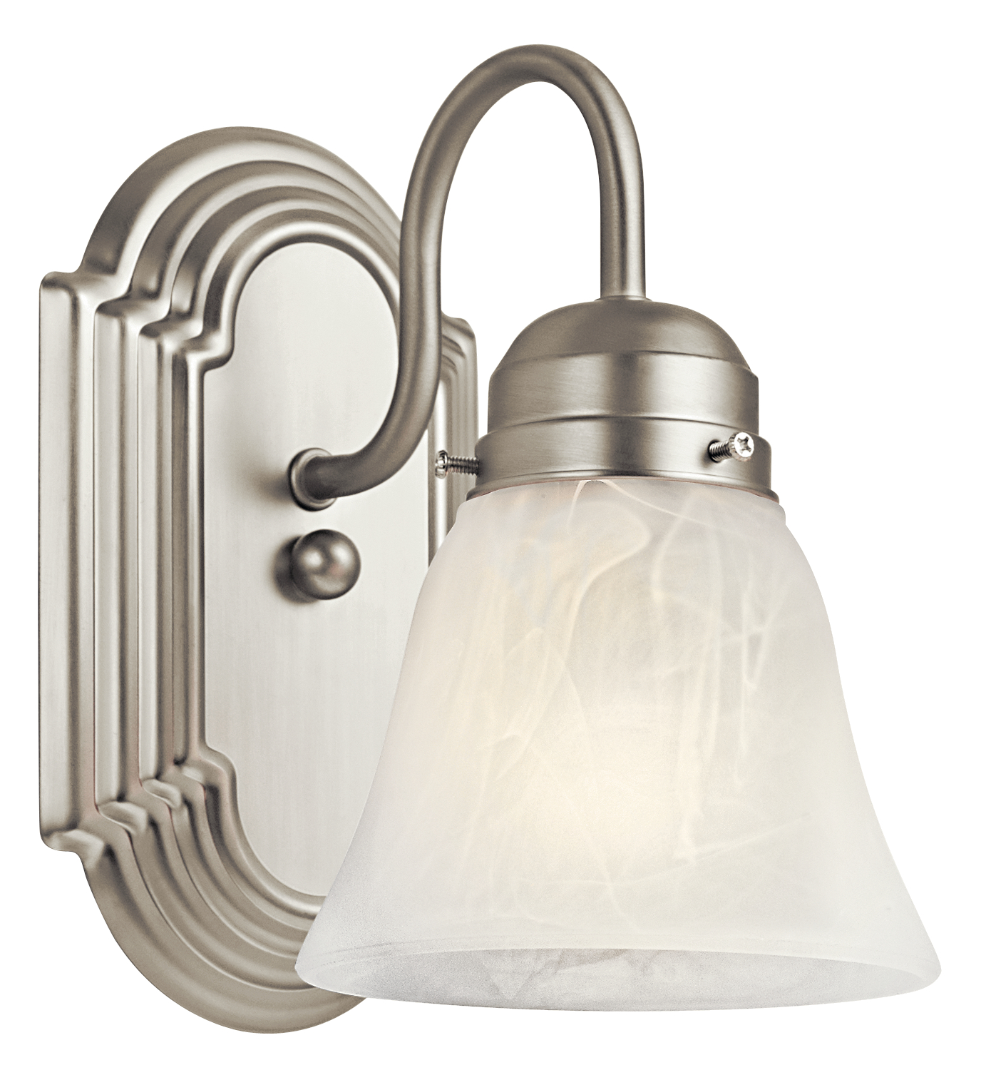 Kichler Outdoor Damp Wall Light with Alabaster Swirl Shade - Brushed Nickel (5334NI)