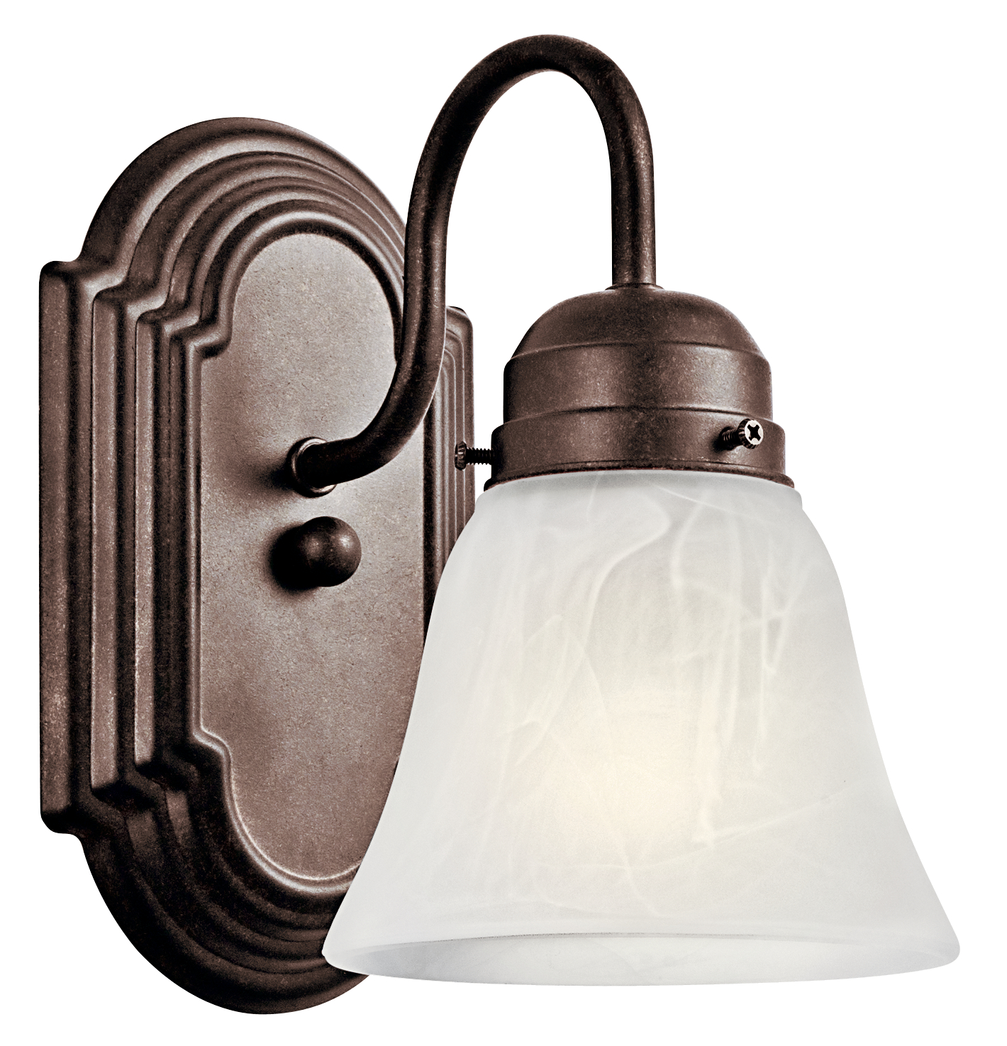 Kichler Outdoor Damp Wall Light with Alabastser Swirl Shade - Tannery Bronze (5334TZ)