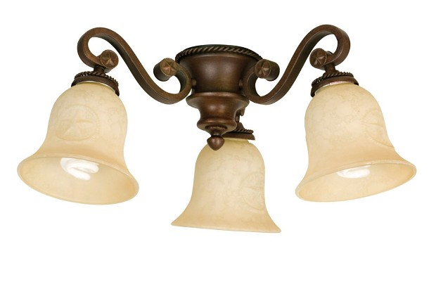 Craftmade Universal LED Three-Light Light Kit with Bell Shaped Antique Scavo Glass - Aged Bronze Textured (LK44-AG-LED)
