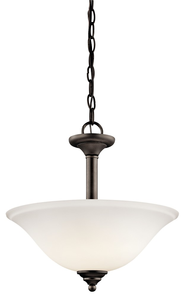 Kichler Armida LED Pendant Light with Satin Etched White Shade - Olde Bronze (3694OZWL16)